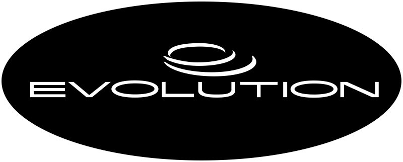 Evolution Logo black oval white letters